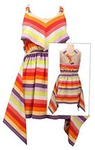 Tween Big Girls Coral Multi Stripe Knint Hanky Hem Dressack Dress , Bonnie Je...
