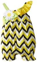 Bonnie Baby Baby-Girls Newborn Chevron Print Romper, Yellow, 3-6 Months