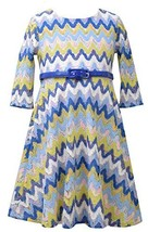 Little Girls 2T-6X Blue Multi Chevron Flamestitch Belted Knit Dress, Bonnie J... image 1