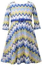 Little Girls 2T-6X Blue Multi Chevron Flamestitch Belted Knit Dress, Bonnie J... image 2