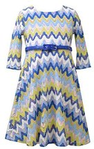 Little Girls 2T-6X Blue Multi Chevron Flamestitch Belted Knit Dress, Bonnie J...