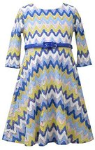 Little Girls 2T-6X Blue Multi Chevron Flamestitch Belted Knit Dress, Bonnie J... image 2