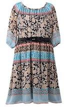 Big-Girls Tween Black/Multi 3/4-Sleeve Belted Print Chiffon Dress, BK4MU, Bla...