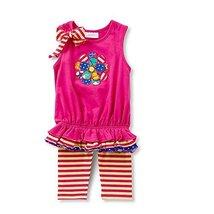 Little Girls Mix Floral Applique Bubble Dress/Legging Set, Bonnie Jean, Fuchs...