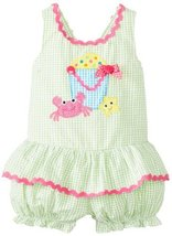 Bonnie Baby Baby Girls' Bucket and Crab Appliqued Romper, Lime, 12 Months Bon...