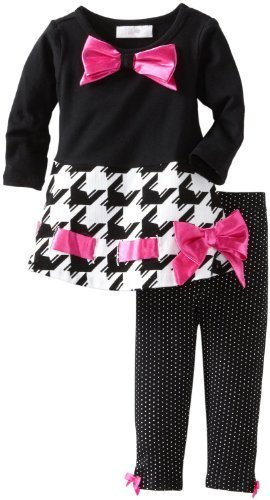 Bonnie Baby Girls' Houndstooth Bow Trim Legging Set, Black, 24 Months [Apparel]