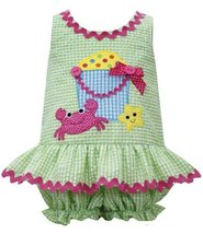 Lime-Green Beach Sandbucket Crab Applique Seersucker Romper LM1MH, Lime-Green...