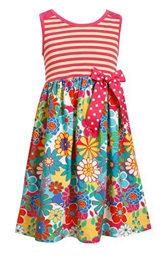 Little Girls Stripe Knit to Floral Skirt Lace Back Dress, Bonnie Jean, Fuchsi...