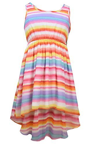 Tween Big Girls Plus Pink Multi Watercolor Stripe Chiffon High Low Dress, Pin...