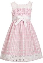 Little Girls Pink/White Metallic Check Eyelet Seersucker Dress, Pink, 6X