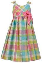 Big Girls Plus Pink/Multi Metallic Plaid Pull-Thru Ribbon Fit-Flare Dress, Pi...