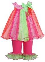 Colorblock Glitter Dot Mesh Trapeze Dress/Legging Set FU1MH, Fuchsia, Bonnie ...