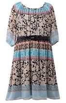Big-Girls Tween Black/Multi 3/4-Sleeve Belted Print Chiffon Dress, BK4MH, Bla...