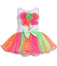 Knit Rosette Bouquet Glitter Dot Colorblock Mesh Tutu Dress FU0CH, Fuchsia, B...