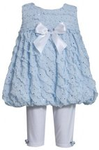 Blue Sparkle Eyelash Ruffles Bubble Dress/Legging Set BL1MH, Blue, Bonnie Jea...