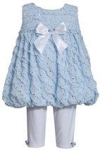 Blue Sparkle Eyelash Ruffles Bubble Dress/Legging Set BL1MT, Blue, Bonnie Jea...