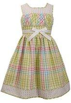 Little-Girls Lime-Green/Multi Metallic Check Seersucker Eyelet Border Dress, ...