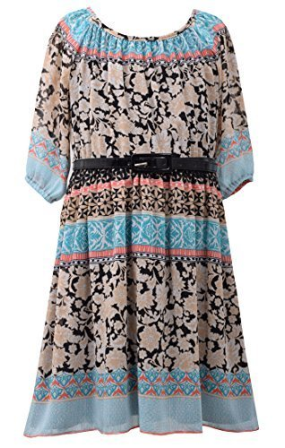Big-Girls Tween Black/Multi 3/4-Sleeve Belted Print Chiffon Dress, BK4MS, Bla...