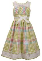 Big-Girls Tween Lime-Green/Multi Metallic Check Seersucker Eyelet Border Dres...