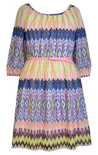 Little Girls Navy-Blue/Yellow Belted 3/4-Sleeve Print Chiffon Dress, BU3NA, B...