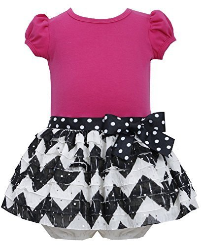 Baby Girls 3M-24M Chevron Stripe Spangle Eyelash Ruffle Dress (12 Months, Fuc...