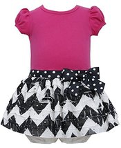 Baby Girls 3M-24M Chevron Stripe Spangle Eyelash Ruffle Dress (12 Months, Fuc... image 1