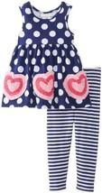 Bonnie Baby Baby Girls' Bonaz Hearts On Knit Top with Dots Stripe Capri, Navy...