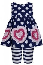 Blue White Dots Stripes Bonaz Heart Dress/Legging Set NV1MT, Navy, Bonnie Jea... image 2