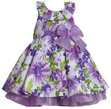 Lavender-Purple Glitter Floral Print Halter Dress LV2HA, Lavender, Bonnie Jea...