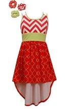 Little Girls Chevron Stripe Knit High Low Dress, Bonnie Jean, Coral, 6X