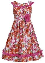Orange Pink Multi Ruffle U-Neck Glitter Floral Print Dress OR4MU, Orange, Bon...