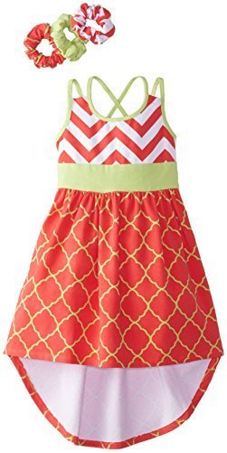 Bonnie Jean Little Girls' Chevron To Print Hi Low, Coral, 6 [Apparel]