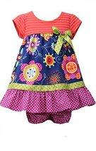 Baby Girls Infant 12M-24M Navy Stripe Knit to Mix Print Empire Waist Dress, B...