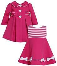 Baby Girls 3M-24M Pink Shirred Collar Jacquard Dress/Coat Set, Fuchsia,3/6M image 1
