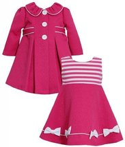 Baby Girls 3M-24M Pink Shirred Collar Jacquard Dress/Coat Set, Fuchsia,3/6M