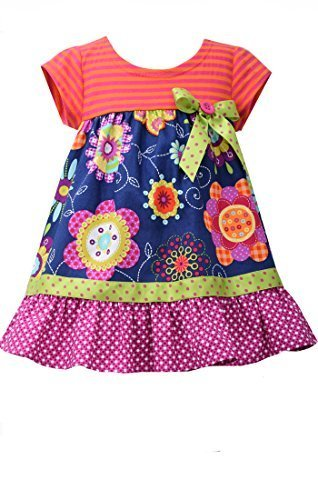 Little Girls Navy-Blue/Multi Knit to Floral Print Babydoll Dress, NV2BA, Navy...
