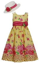 Bonnie Jean Big Girls Tween 7-16 Coral Floral Print Poplin Dress/Hat Set (7, ...