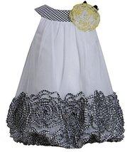 Little-Girls 2T-6X Black White Metallic Bonaz Border Trapeze Dress BW2BA, Bon...