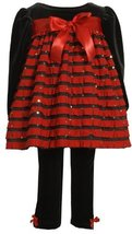Bonnie Baby-girls Infant Stretch Velvet Bodice With Red Ruffles and Stretch V...