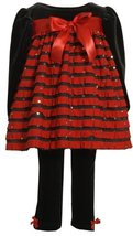 Bonnie Baby Girls' Stretch Velvet Bodice With Red Ruffles and Stretch Velvet ...