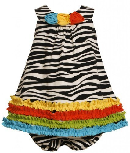 Bonnie Jean Baby 3M-24M 2-Piece Multicolor Ruffle Border Zebra Stripe Knit Dr...