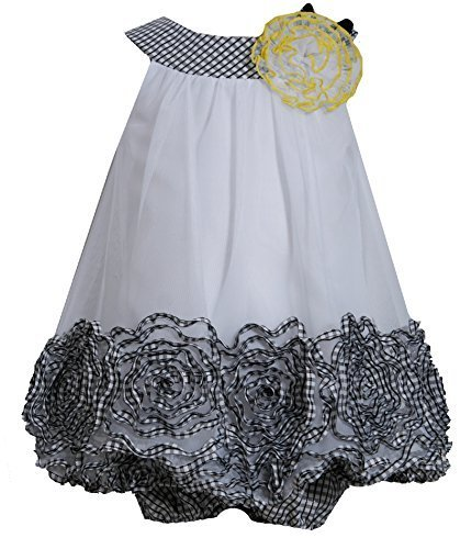 Baby-Girls Infant 12M-24M Black White Metallic Bonaz Border Trapeze Dress, BW...
