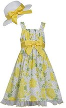 Bonnie Jean Big Girls Tween 7-16 Yellow Floral Spring Poplin Dress /Hat Set (...