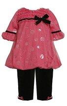 Bonnie Jean Baby 3M-9M Fuchsia-Pink Foil Dot Mesh Overlay Bubble Legging Set ...