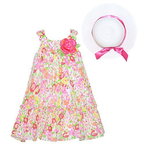 Bonnie Jean Flowered Easter Dress with Hat Size 4 5 6 6X (6) [Apparel] Bonnie...