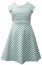 Aqua Ivory Sequin Bodice Cross Over Back Stripe Knit Dress AQ3SP, Aqua, Bonni...