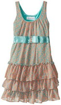Bonnie Jean Little Girls' Printed Chiffon Shift with Tiers, Aqua, 6 [Apparel]