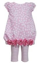 Baby Girls Newborn Burnout Dot Rolled Rosette Border Bubble Dress/Legging Set...