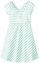 Bonnie Jean Tween Big Girls' Stripe Knit Open Wrap Back Dress (7, Aqua) image 1