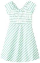 Bonnie Jean Tween Big Girls' Stripe Knit Open Wrap Back Dress (7, Aqua) image 2